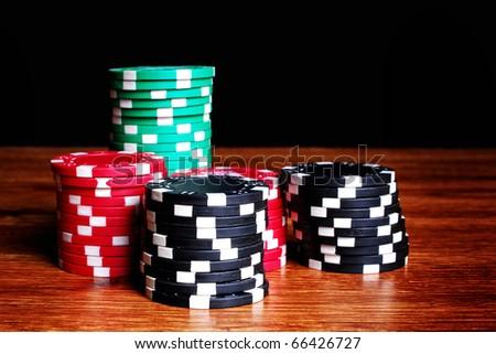 Casino gambling chips - stock photo