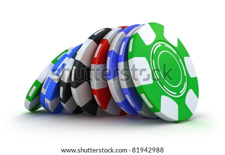 Casino gambling chips. Isolated on white - stock photo