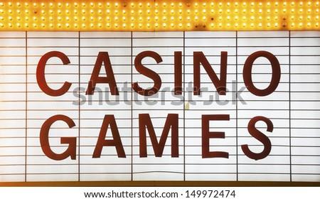Casino Games Sign in Las Vegas, Nevada, USA - stock photo