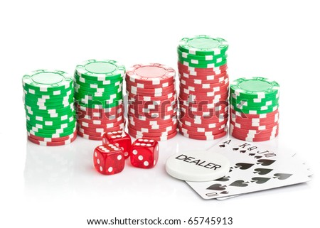 Casino games with chips, dice and cards on white background