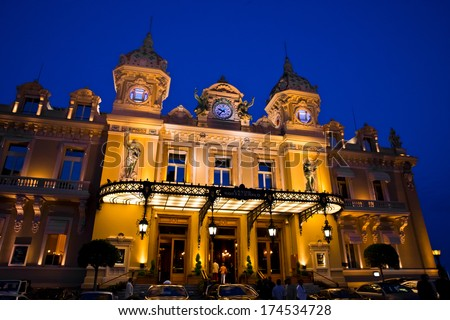 Casino in Monaco. Night landscape. Monte Carlo. - stock photo