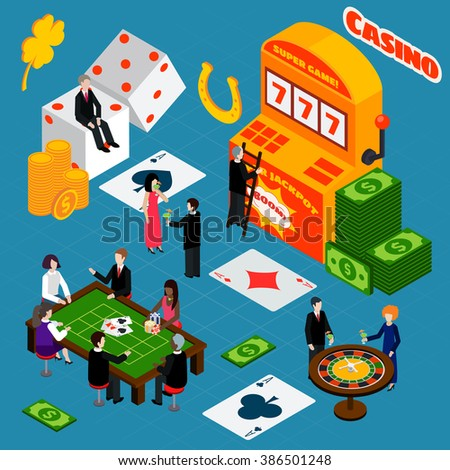 Casino Interior Luck Symbols Isometric Banner - stock photo