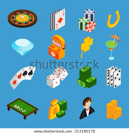 Casino isometric icons set with roulette cards dice money isolated  illustration - stock photo