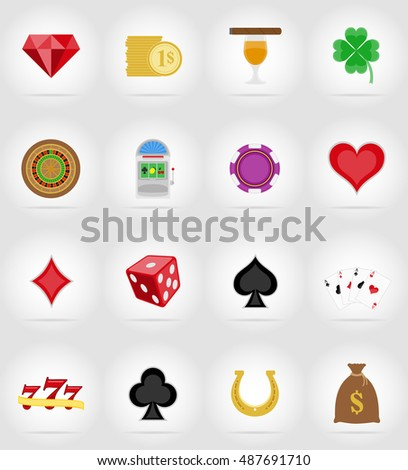casino objects and equipment flat icons illustration isolated on background