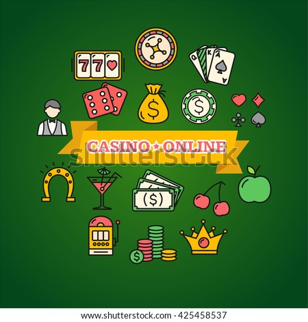 Casino Online Concept Poster on Green. illustration