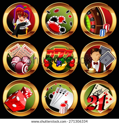 Casino or gambling icons set. - stock photo