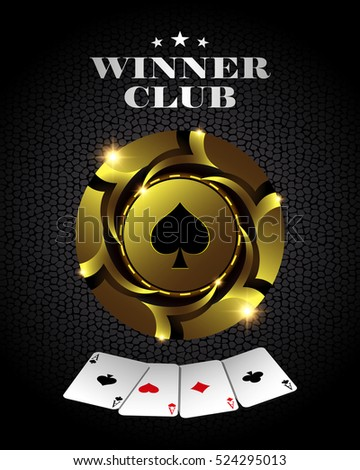 Casino poker gold chip, template for design backgrounds, cards and banners