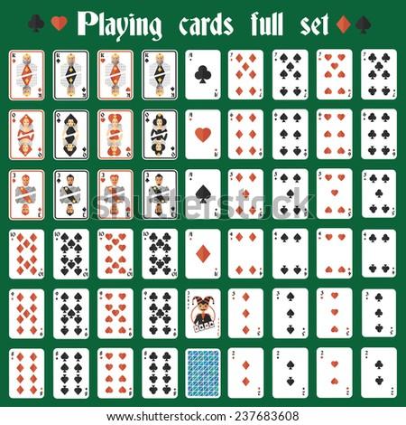 Casino poker hazard playing cards full set isolated  illustration - stock photo