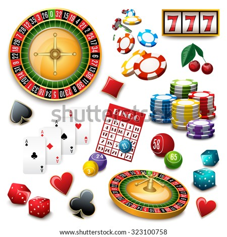 Casino popular gambling online games symbols composition poster with roulette cards deck and bingo abstract  illustration - stock photo