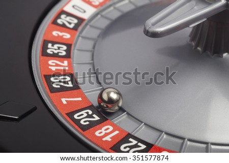 Casino roulette detail with ball in number twenty nine. Gambling. Horizontal