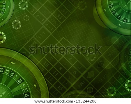 casino roulette green horizontal background illustration - stock photo