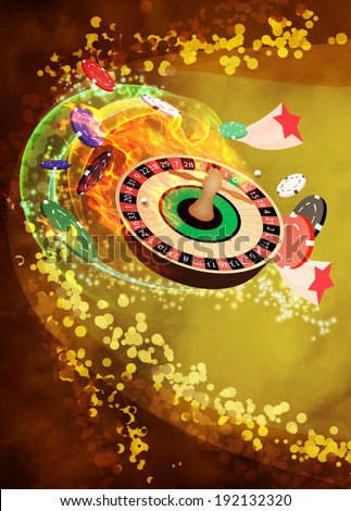 Casino roulette invitation poster, flyer and other advert background with empty space - stock photo