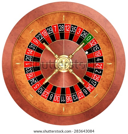Casino roulette isolated on white - stock photo