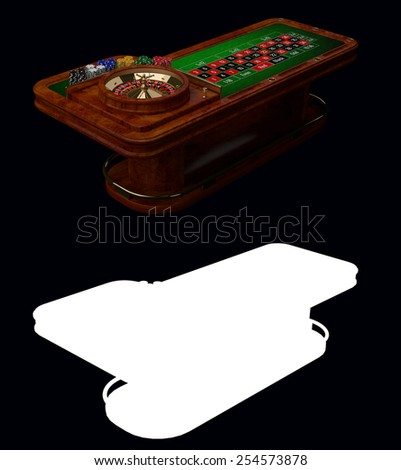 Casino Roulette Table with Alpha Channel - stock photo