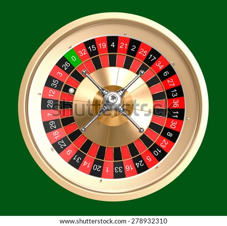 Casino roulette top view, isolated - stock photo