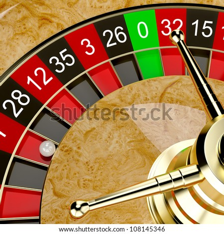 Casino roulette wheel close up. Gambling illustration concept