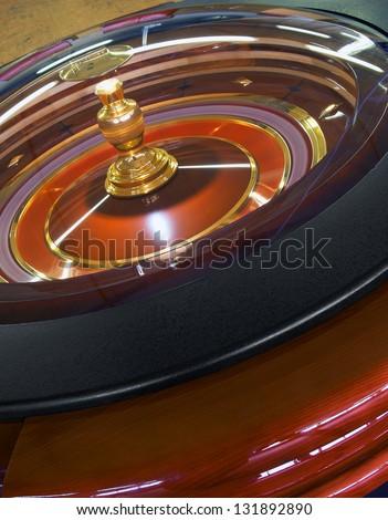 Casino Roulette wheel rotation, closeup - stock photo