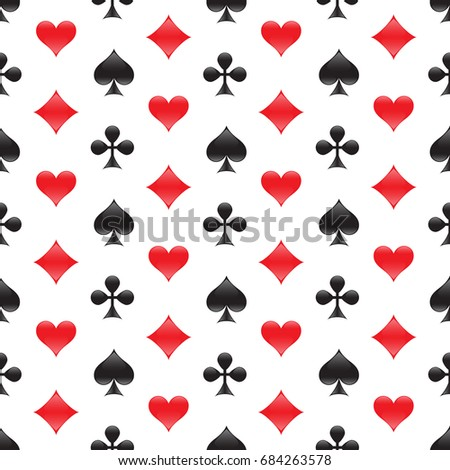 Casino seamless pattern with card suits. Raster copy.