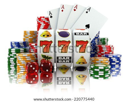 Casino. Slot machine with jackpot, dice, cards and chips. 3d - stock photo
