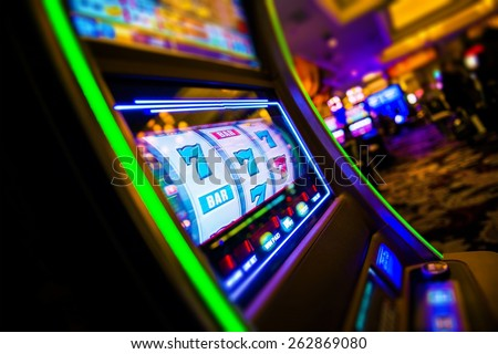 Casino Slot Machines. Las Vegas Strip Digital Slot Machine Closeup. Sin City Gabling. Las Vegas, United States. - stock photo
