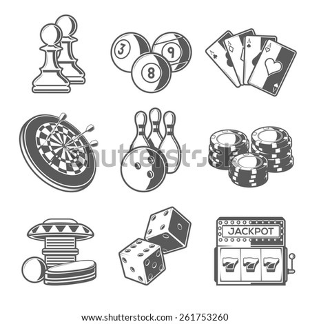 Casino Sport and Leisure Games Icons (Chess, Billiard, Poker, Darts, Bowling, Gambling Chips, Pinball, Dice and Slot Machine). Black Outline Style. Raster Copy. - stock photo