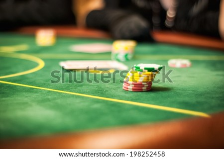 casino table for card games - stock photo
