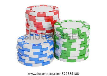 Casino Tokens stack closeup, 3D rendering isolated on white background