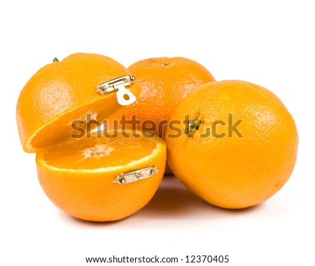 Casket from fresh orange isolated on a white background