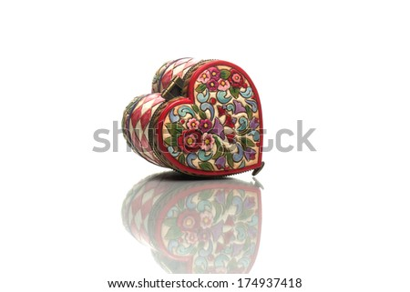 casket in the form of heart on a white background
