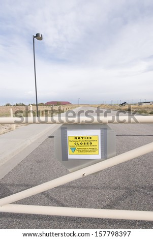 CASPER, WY- OCTOBER 10: The National Historic Trails Interpretive Center shows a CLOSED NOTICE due to government shutdown. This is Day 10 of the government shutdown on October 10, 2013.