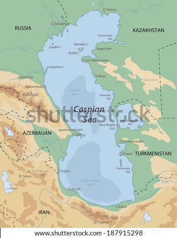 Caspian Sea map - stock photo