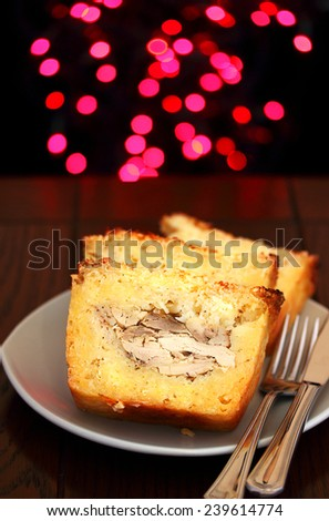 Cassava pie, traditional Bermuda food for Christmas and New Year's - stock photo