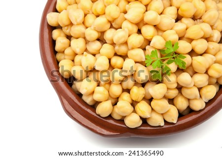 casserole of chick-peas cooked with parsley - stock photo