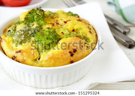 casserole with broccoli and cheese, food close up