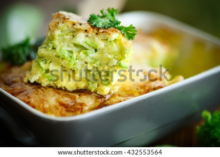 casserole with cheese and zucchini - stock photo