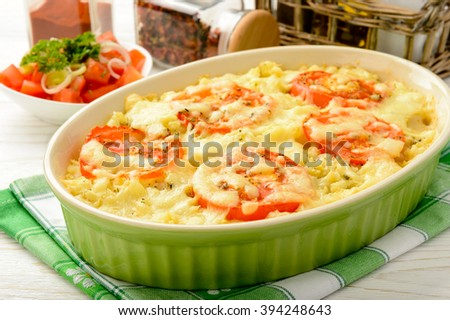 Casserole with minced meat, vegetables and cheese.