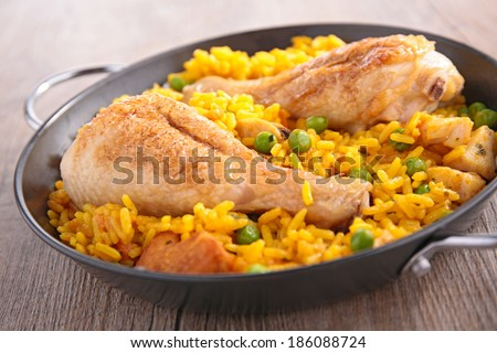 casserole with paella - stock photo