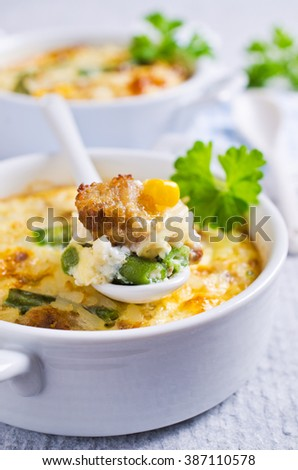 Casserole with rice, vegetables and minced meat. Selective focus. - stock photo