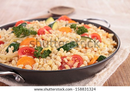 casserole with wheat and vegetables