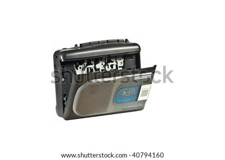 Cassette dictaphone analog - stock photo