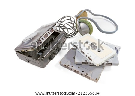 Cassette player with audio tape isolated on white background  - stock photo