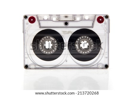 Cassette tape on white background. - stock photo
