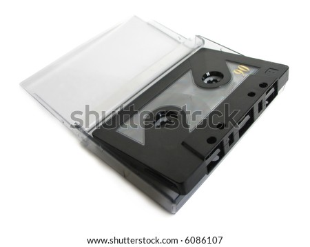 Cassette tape with cassette box on white background - stock photo