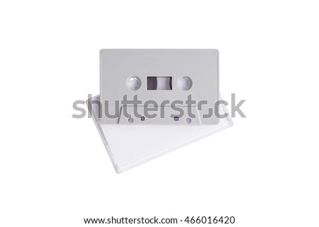 Cassette tape with Cassette tape case isolated on white background