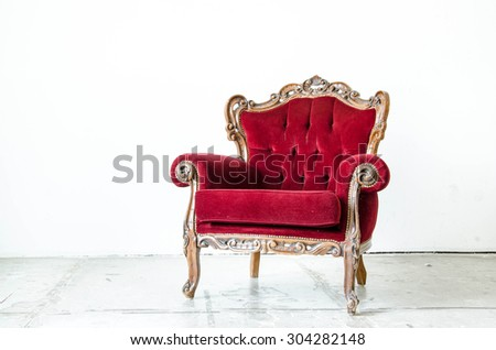 Cassical vintage armchair on white background - stock photo