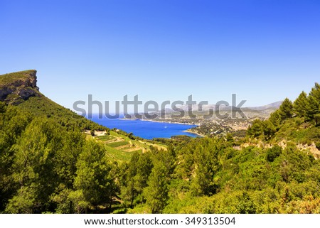 Cassis bay and sea in French Riviera from route des cretes scenic road. Cote Azur, Provence, France, Europe. - stock photo