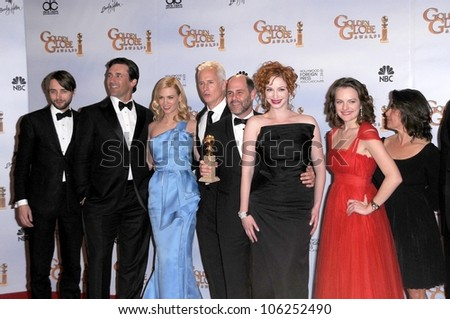Cast and crew of 'Mad Men' in the press room at the 66th Annual Golden Globe Awards. Beverly Hilton Hotel, Beverly Hills, CA. 01-11-09