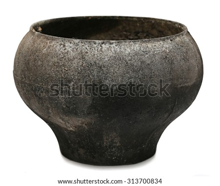 Cast iron a large pot,  pot from iron round to extinguish fire and boiling in Russian oven. - stock photo