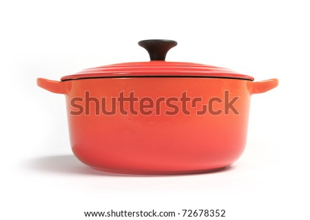cast iron cooking pot, isolated on white - stock photo