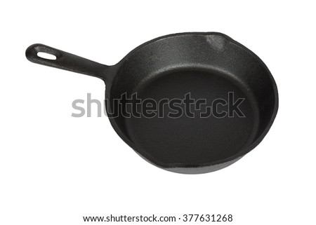 Cast-iron frying pan. Isolation on a white background. Clipping path.
